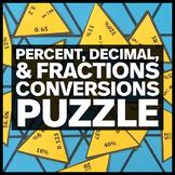 Percent, Decimal, & Fraction Conversions Triangle Puzzle