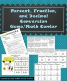 Percent, Decimal, and Fraction Conversions Math Game/Center