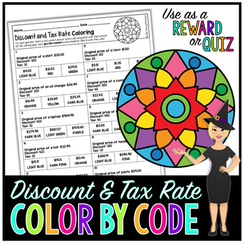 PERCENT DISCOUNT & TAX RATE MATH COLOR BY NUMBER, QUIZ