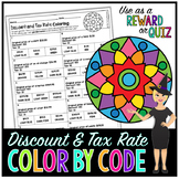 Percent Discount & Tax Rate Math Color By Number or Quiz