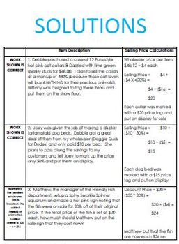 Percent Discount and Markup Activity - Worksheet, Task Cards, etc.