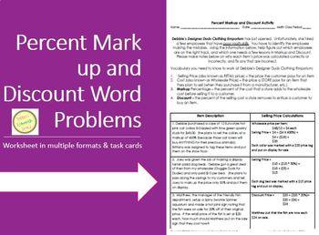Percent Discount and Markup Activity - Worksheet, Task Car