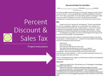 Percent Discount and Sales Tax Assignment/Project