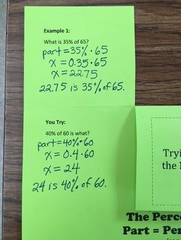 Percent Equation Foldable