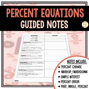 Percent Equations: Recording Sheets and Fill in the Blank Notes