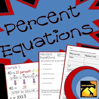 Percent Equations: Solving Percent Problems