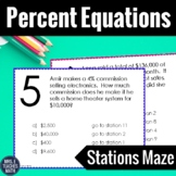 Percent Equations Stations Maze Activity