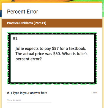 Percent Error (Google Form & Interactive Video Lesson!)