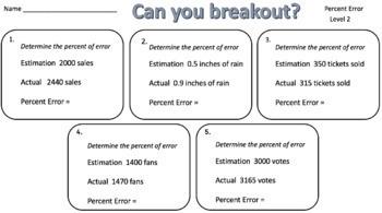 Percent Error – Two Breakout Activities!