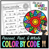 Percent, Part, & Whole Math Color By Number or Quiz