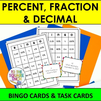 Percent, Fraction and Decimal Bingo and Task Cards