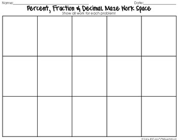 Percent, Fraction and Decimal Maze