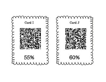 Percent Fraction and Decimals Scavenger Hunt with and Without QR Codes 6.4E 6.4G