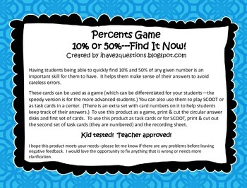 Percent Game/Task Cards