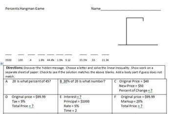 Percent Hangman  7.RP.A.1, 7.RP.A.2, 7.RP.A.3