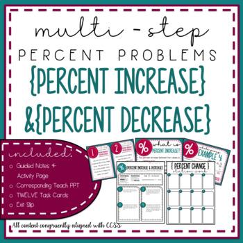 Percent Increase & Decrease {Multi-Step Percent} Lesson Bundle