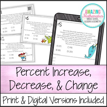 Percent Increase and Decrease Task Cards