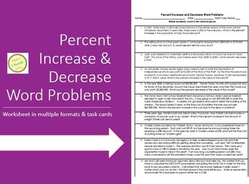 Percent Increase and Decrease Word Problems Worksheet & Task Cards