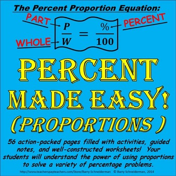 Percent Proportion Unit Teaching Percentages Using Proportions