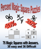 Percent Magic Squares Puzzles - Great for Fluency