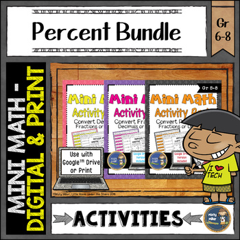Percent Math Activities Bundle Google Slides and Printable