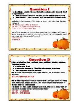 Percent Math or Treat Halloween Task Cards