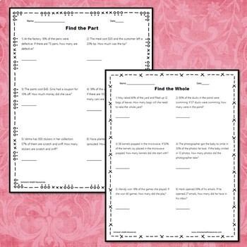 Percent, Part, and Whole Word Problem Worksheets