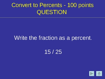 Percent Parts and Proportions Game like Jeopardy(R)
