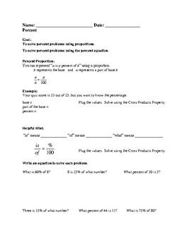 Percent Practice Worksheet