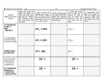 Percent & Price 04: Sales & Discount Price