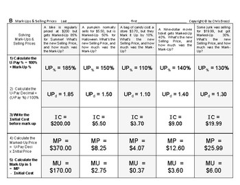 Percent & Price 05: Mark-Ups and Selling Price