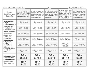 Percent & Price 06: Sales & Calculating Calculate Taxes and Final Cost