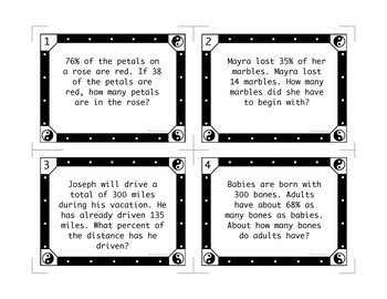 Percent Problems Task Cards