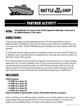 Percent Problems Activity - Battle My Math Ship Game