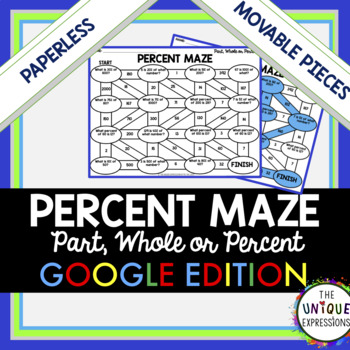 Percent Problems - Part, Whole, or Percent Maze Digital Maze Activity