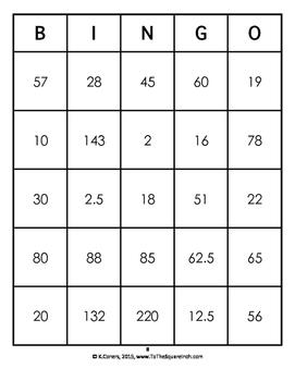 Percent Problems Bingo