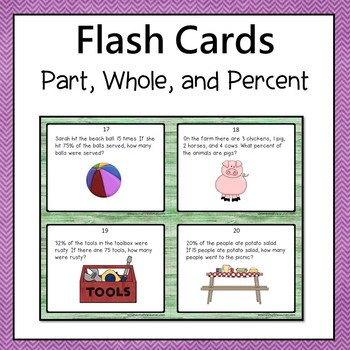part whole and percent word problems flash cards or task cards 6th grade. Black Bedroom Furniture Sets. Home Design Ideas