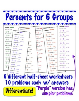 Percent Problems for 6 groups