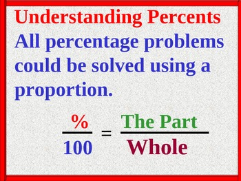 Percent Problems solved using Proportions and Handout, Math PowerPoint