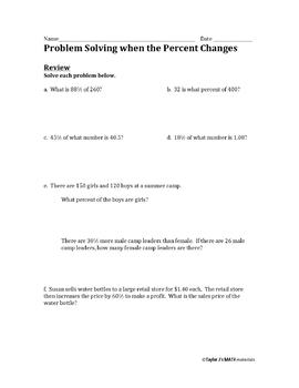 Percent Problems with More Than One Whole Worksheet Bundle