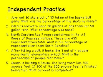 Percent Proportion - Notes & Practice - Middle Grades - Key Included