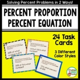 Percent Proportion and Percent Equation Task Cards