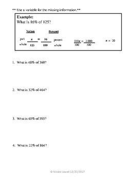Percent/Proportion Practice