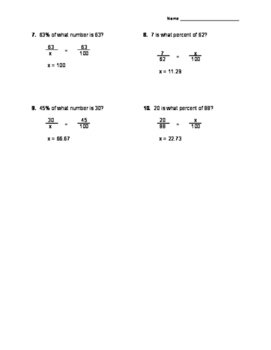 Percent Proportion Practice Worksheet *Answer Key Included!*