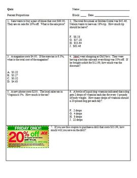 Percent proportions worksheet teaching resources teachers pay teachers percent proportion quiz percent proportion quiz fandeluxe Image collections