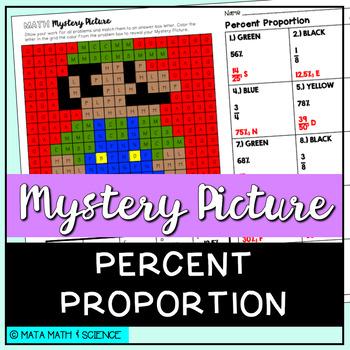 Percent Proportion: Solve + Color Mystery Picture (Super M