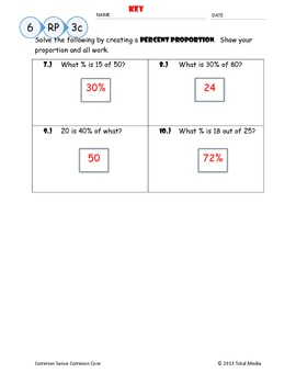 Percent Proportion Worksheet