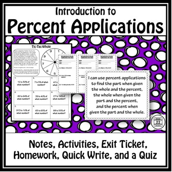Percent Proportions Notes and Activity