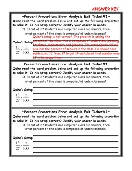 Percent Proportions Error Analysis Exit Ticket with Answer Key