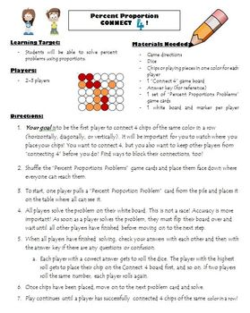 Percent Proportions Game/Math Center